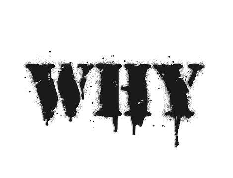 Why lettering. Vector graffiti lettering on white. Lettering sprayed with leak in black over white. Design street art.