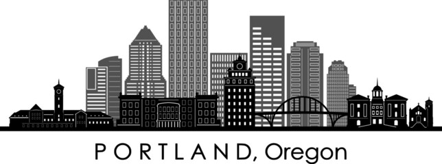 PORTLAND City Oregon Skyline Silhouette Cityscape Vector