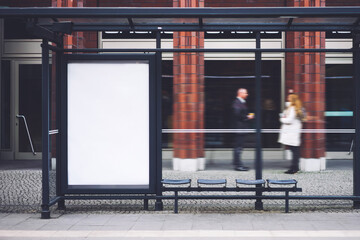 Fototapeta Bus station billboard with blank copy space screen for your advertising text message or promotional content, empty mock up Lightbox for information, stop shelter clear poster in urban city scene obraz