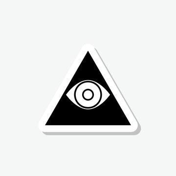 Third eye chakra sticker icon isolated on gray background