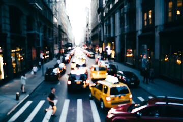 Foto auf AluDibond New York TAXI Blurred photo of big city life with traffic on road and pedestrian passing crosswalk in downtown, cityscape with modern architecture and transport moving on avenue in district of New York megalopolis