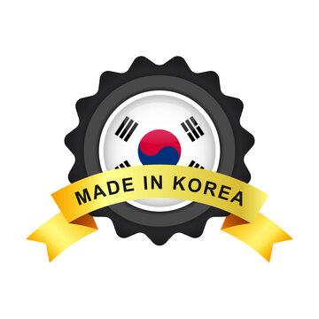 Made in Korea with emblem badge labels illustration template design
