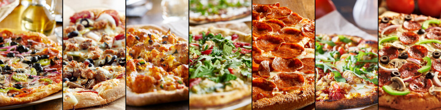 pizza food collage with different styles