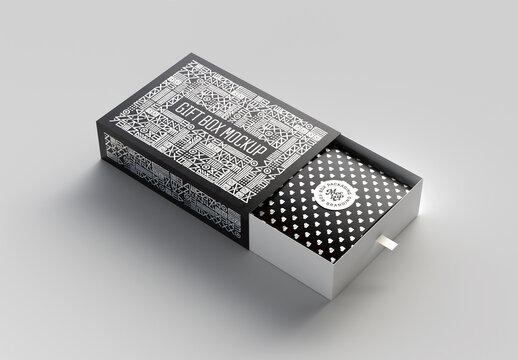 Cardboard Sliding Open Box Mockup