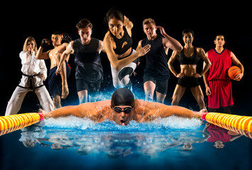 Sport collage. Swimming, running, fitness, bodybuilding, tennis, fighter and basketball players