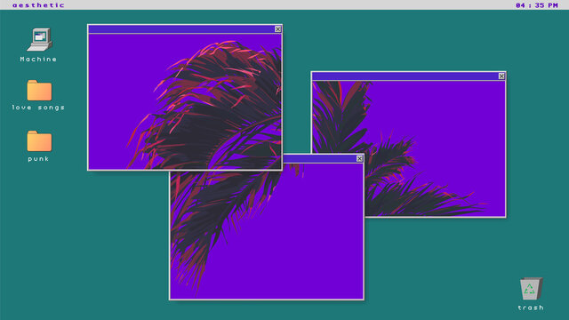 Tropical palm tree on ultraviolet flat background, futuristic minimal vaporwave vintage - retro vibe / nostalgic OS windows and icon style background