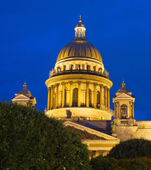 Night Saint Isaac Cathedral Petersburg Russia