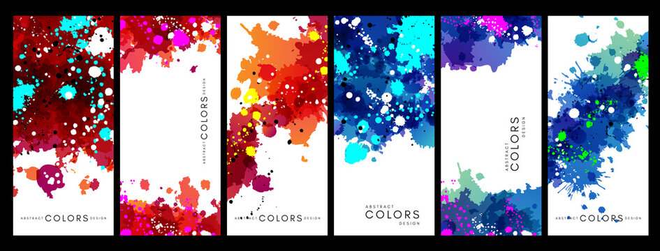 Colorful artistic banners with paint texture. Rainbow colored background collection.