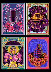 Psychedelic Posters 1960s Hippie Art Style, Microphone, Eye in Triangle, Egyptian Scarab, Grenade, Flowers Psychedelic Colors, Art Nouveau Frames