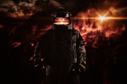 Minesweeper in an armored suit. The concept of apocalyptic and military computer games.