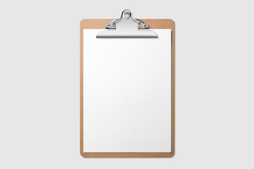Real photo, wooden clipboard with blank A4 paper mockup template, isolated on light grey background. High resolution.
