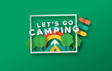 Let's go camping travel papercut forest frame