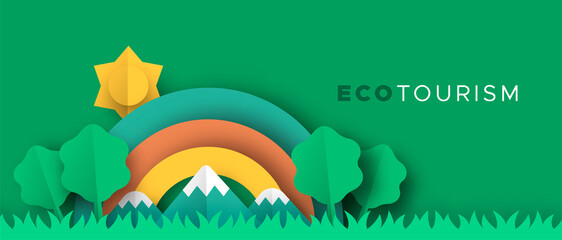 Eco tourism papercut banner of nature landscape