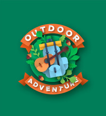 Outdoor adventure papercut backpack and guitar