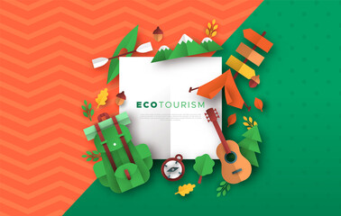 Eco tourism papercut template of camping icons