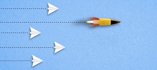 rocket on paper background