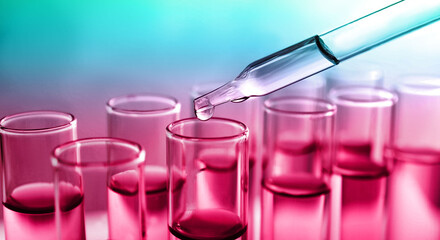 Poster India Dropping sample into test tube with liquid on color background, banner design. Laboratory analysis