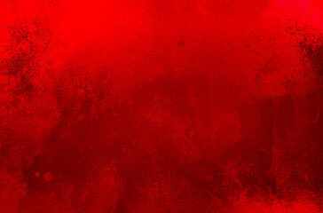Wall Mural - Red background, Christmas background texture with grunge and old distressed vintage watercolor paint stains