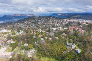 Aerial view of Katoomba in The Blue Mountains in Australia