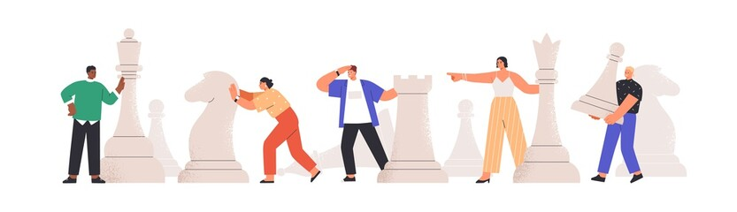 Team of diverse man and woman playing giant chess together vector flat illustration. People planning, thinking and discussing business strategy isolated on white. Concept of tactics and teamwork