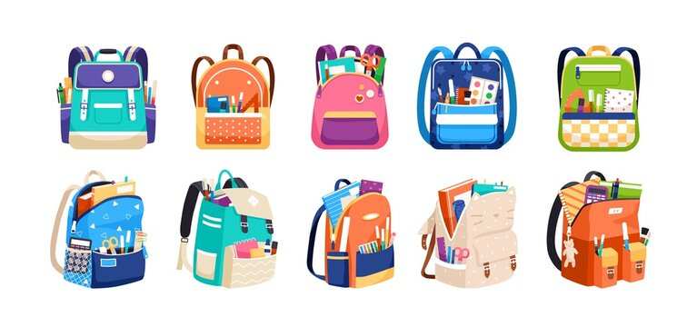 Set of childish school backpacks and schoolbags vector illustration. Collection of various kids bags with stationery, notebooks and textbooks isolated on white. Stylish accessories different shapes