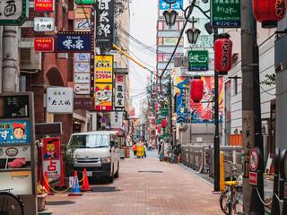 Bar restaurant Osaka street city Colourful sign Shop business Japan travel