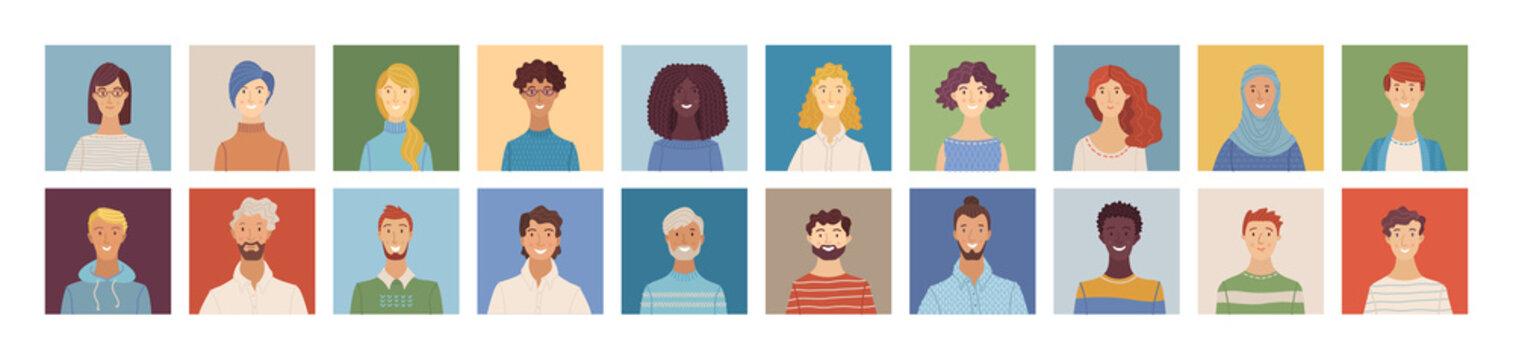 Flat people avatars set