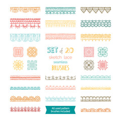 Vector set of 20 sketch lace seamless brushes.