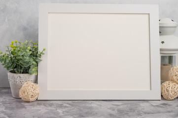 White frame blank for lettering or fonts. On a light background, design.