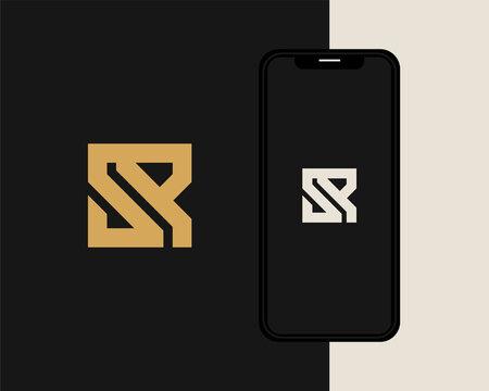Letter S R logo design. creative minimal monochrome monogram symbol. Universal elegant vector emblem. Premium business logotype. Graphic alphabet symbol for corporate identity
