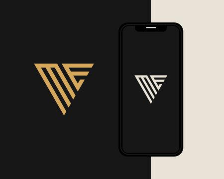 Letter M E logo design. creative minimal monochrome monogram symbol. Universal elegant vector emblem. Premium business logotype. Graphic alphabet symbol for corporate identity
