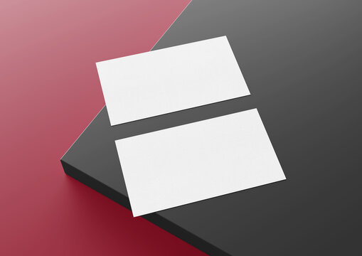 Two white US business card Mockup laying on red and grey background 3D rendering
