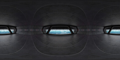 High resolution HDRI panoramic view of a spaceship interior. 360 panorama reflection mapping of a...