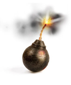 old round classic round black antique bomb with a long burning rope wick isolated on a white background