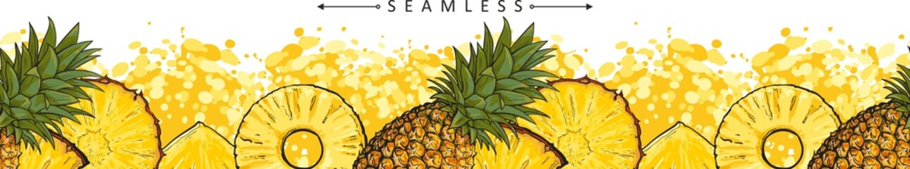 Summer pineapple or ananas seamless pattern sketch vector illustration isolated.