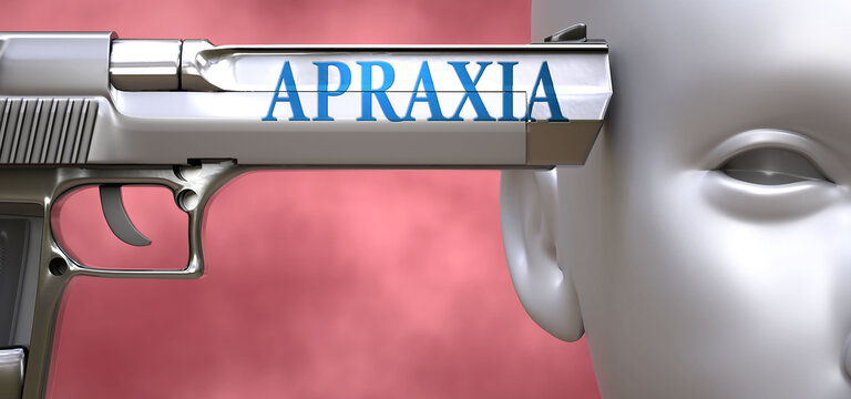 Apraxia can be dangerous or deadly for people - pictured as word Apraxia on a pistol terrorizing a person to show that Apraxia can be unsafe for mental or physical health, 3d illustration