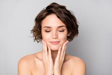 Closeup photo of beautiful nude lady short bob hairstyle enjoy rejuvenation spa salon procedure...