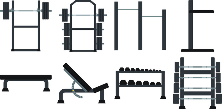 Equipment set for strength training or body building at the gym. Vector graphic.