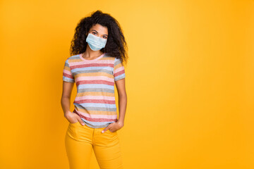 Portrait of her she nice healthy wavy-haired girl wearing safety mask infection influenza viral flu...