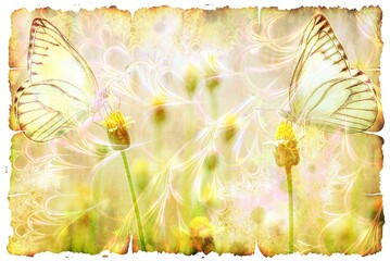 Foto op Aluminium Vlinders in Grunge Closeup illustration of a papyrus with yellow flowers and two butterflies patterns