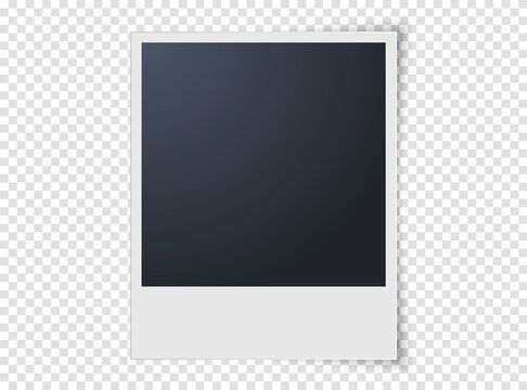 Photo frame isolated on transparent background. Realistic vector illustration