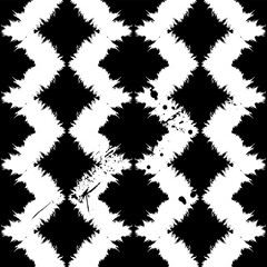 abstract geometric background pattern, with strokes and splashes, zigzag, black and white, seamless