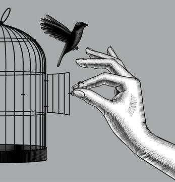 Engraved drawing of a female hand lets a bird go from a cage