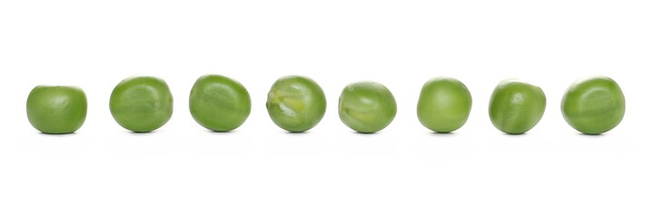 Green peas row isolated on white background Papier Peint