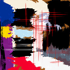 abstract background, composition with paint strokes, splashes and lines