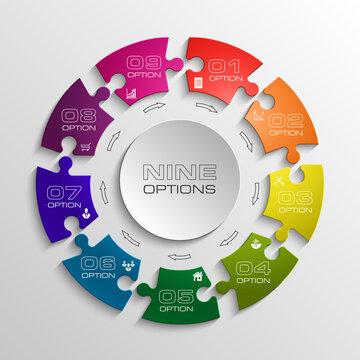 Nine piece puzzle business presentation. Circle infograph. 9 step diagram