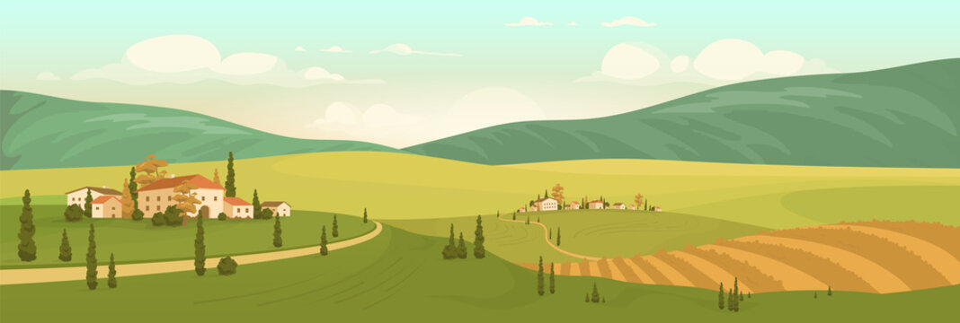 Autumn natural scenery flat color vector illustration