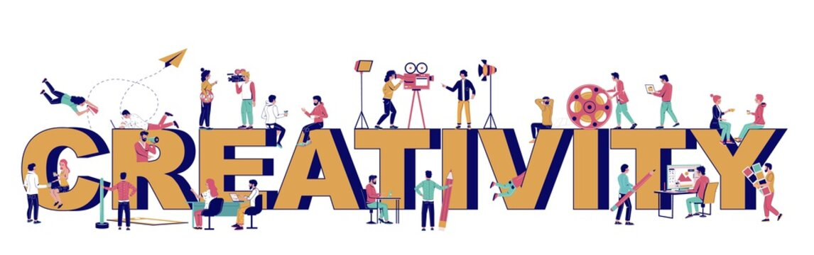 Creativity typography vector banner template. Creative people professions. Graphic and motion designer, digital artist filmmaker creating vector illustration, animated video. Graphic and motion design