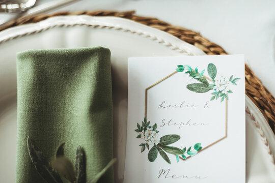 Close up of wedding stationary