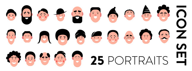 Man portraits icon set. Set of 25 vector icons of man faces with different emotions. Avatar, profile, ID pictures of smiling human faces with different hairstyles. Male heads of diverse nationalities